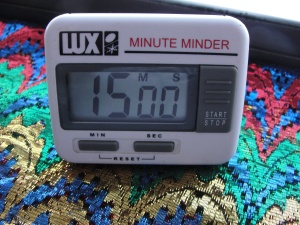 This is my office timer and, I suspect, home to Inspiration. (At least, she seems to come out more when I use this timer.)