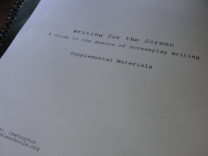 Notes from my screenplay-writing class