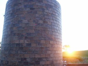 An old grain silo at sunset, in North Dakota